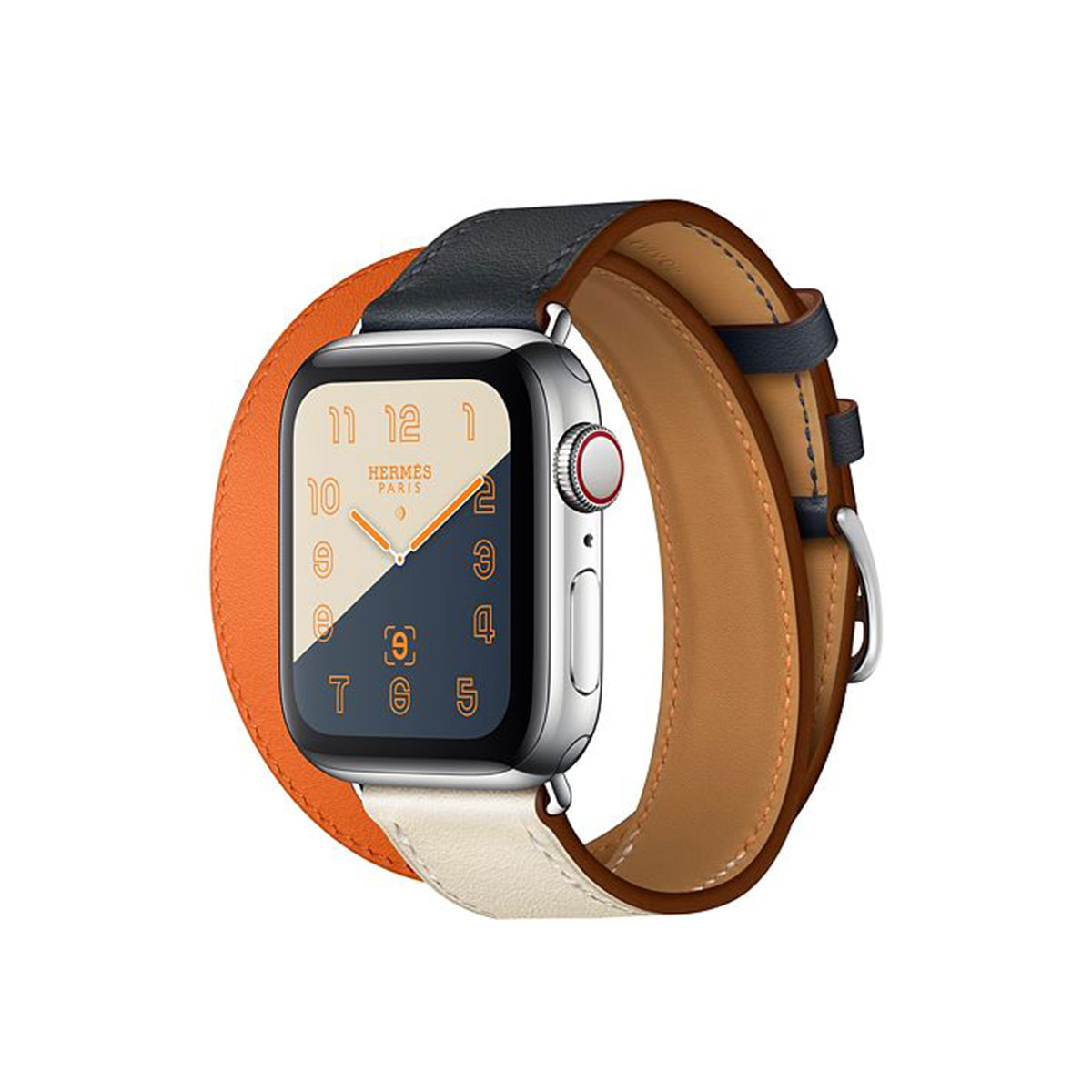 Apple Watch Hermès GPS + Cellular, 40mm Stainless Steel Case with Indigo/Craie/Orange Swift Leather Double Tour