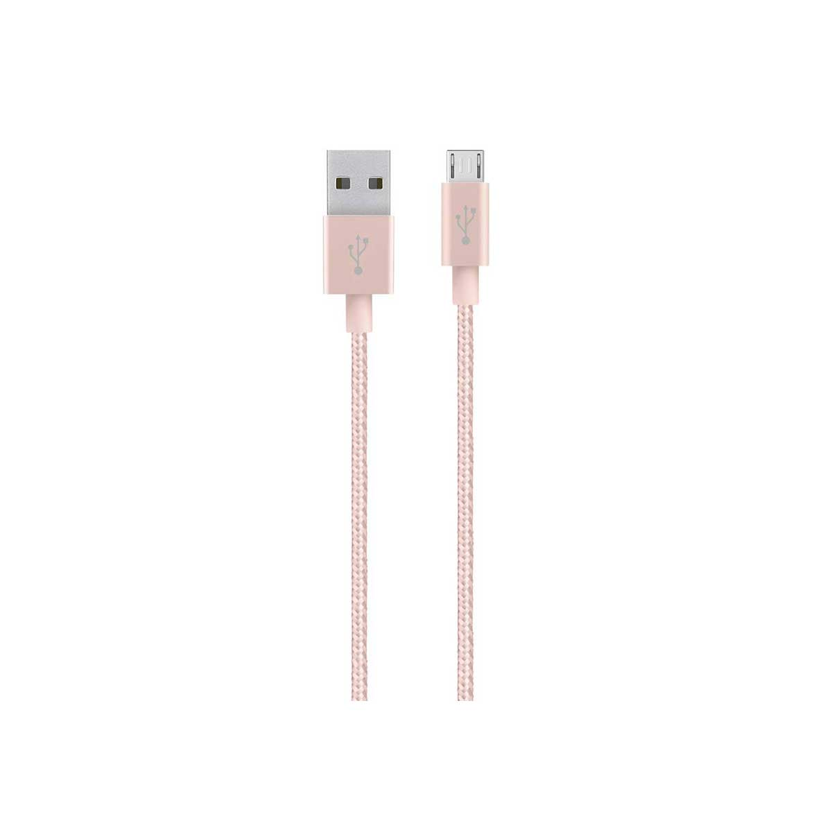 Belkin Premium USB To Micro-USB Braided Tangle Free Cable - Rose Gold