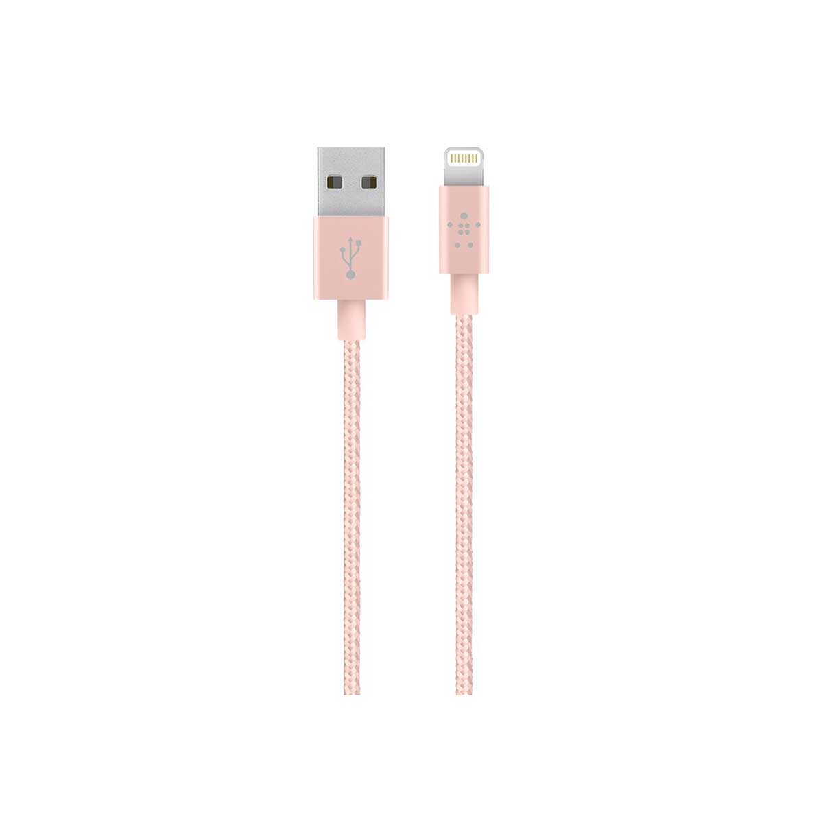 Belkin Premium 1.2M Lightning To USB Braided Tangle Free Cable - Rose Gold