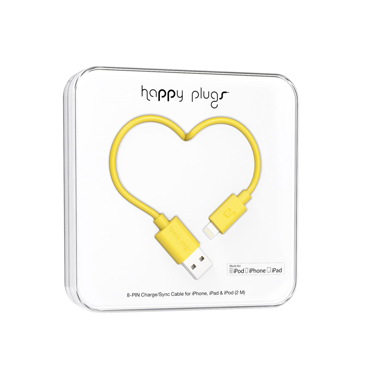 Happy Plugs Lightning To USB Charge / Sync Cable (2.0M) - Yellow